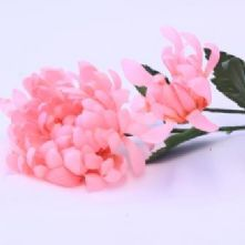 Vintage Large Candy Pink Chrysanthenum with Bud